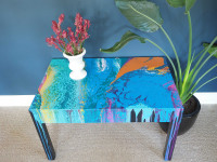 Go with the flow with this easy paint pour coffee table