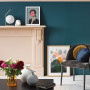Resene Shabby Chic, pink fireplace, teal walls, vintage interior design