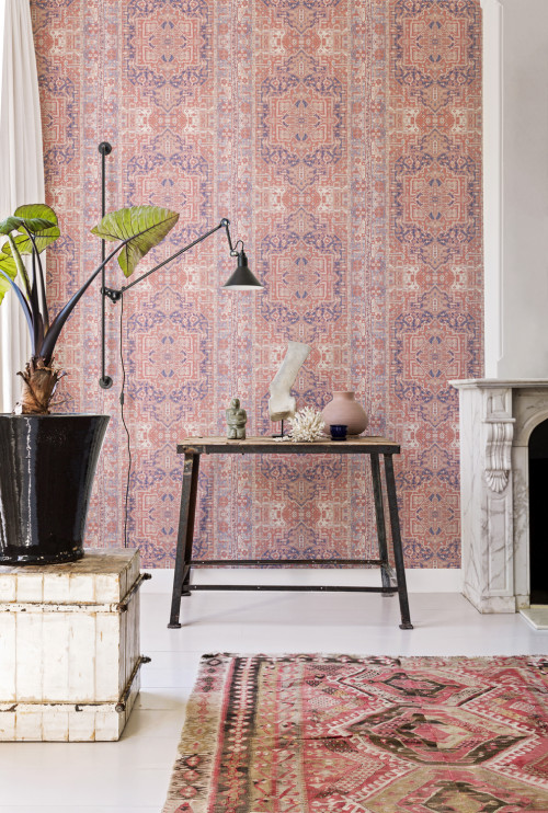 wallpaper, pink, turkish rug, interior trends, feature wall