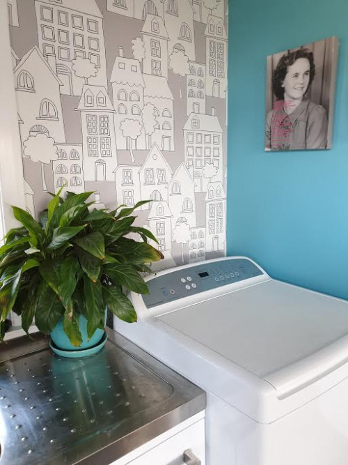 laundry, blue laundry, feature wallpaper, resene wallpaper, resene dauntless, blue interior