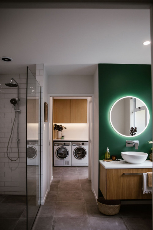 bathroom, green bathroom, bathroom lighting, laundry lighting, white laundry, lighting ideas