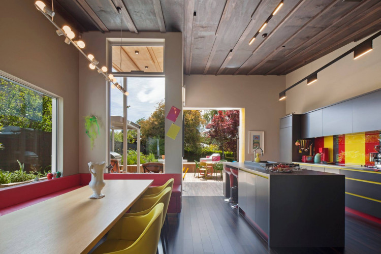 dining room, kitchen, colourful dining room, board and batten ceiling, bright kitchen, open plan