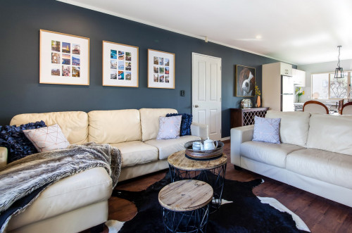 living room, blue, bold, feature wall
