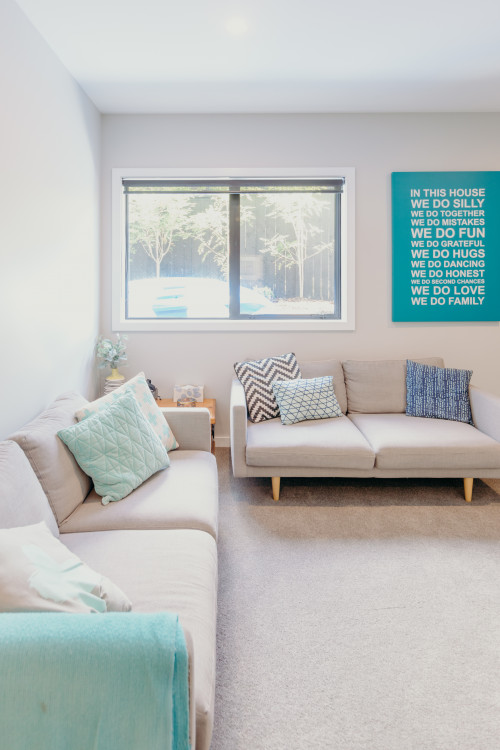 neutral living room, neutral and blue, pop of blue in living room, Resene
