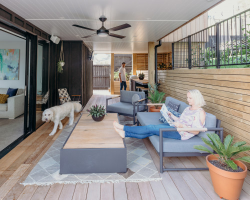 Black house exterior, wooden panels, wooden patio inspiration, undercover patio, Resene