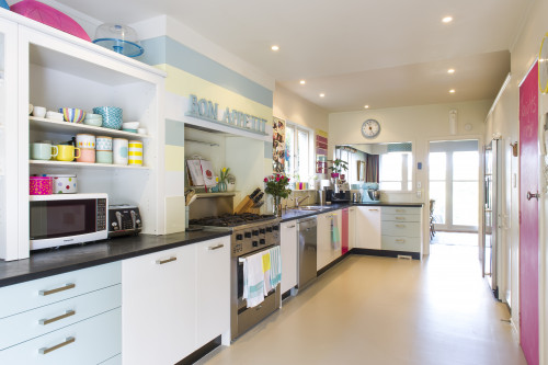 kitchen, colourful kitchen, pink blackboard, painted stripes, blue and pink, family kitchen