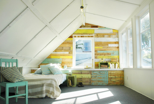 rustic loft, painted loft, white paint, feature wall, distressed timber, diy ideas