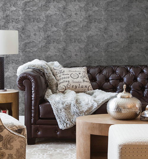 living room, lounge, man cave patterned wallpaper, map wallpaper, grey wallpaper, leather sofa