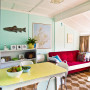retro bach, holiday home, dining room, turquoise living room, retro dining table