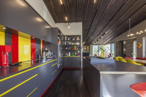 kitchen, board and batten ceiling, grey kitchen, yellow kitchen, red and yellow, colourful kitchen