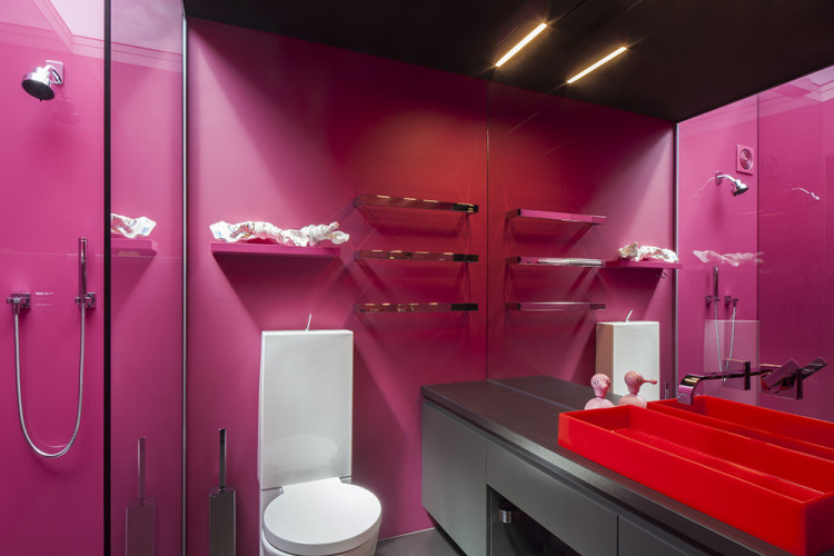 bathroom, ensuite, pink bathroom, bright bathroom, pink ensuite, colourful bathroom