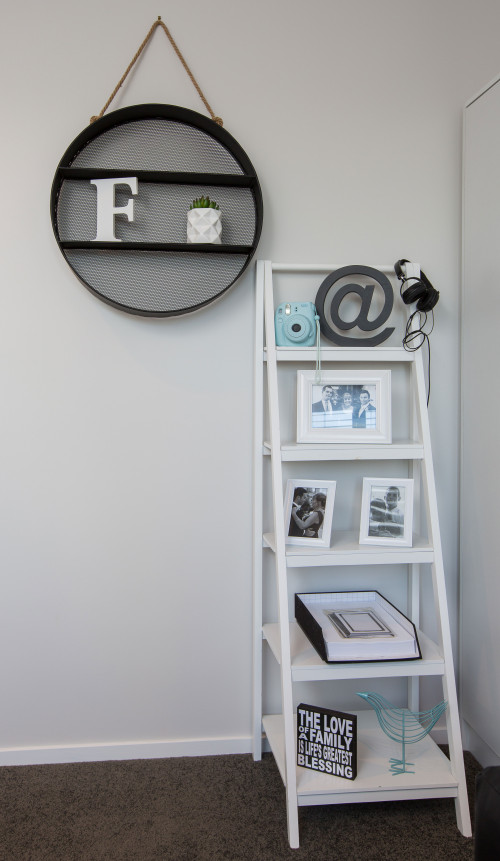 white, bedroom, ladder decor, resene black white
