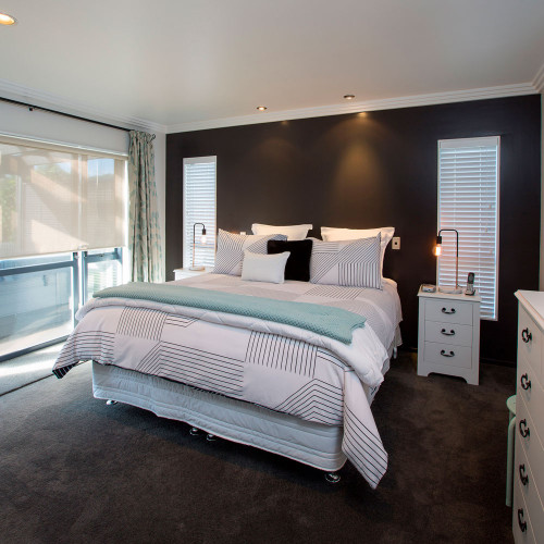 master bedroom, grey, black, feature wall, modern home, house, renovation, resene bokara grey