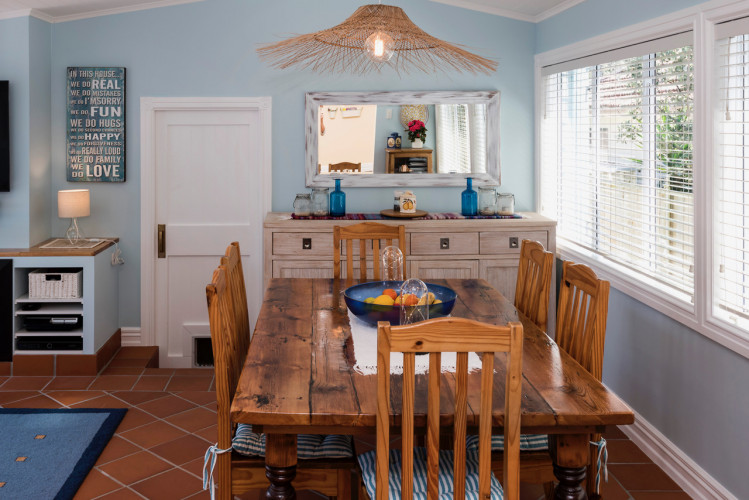 blue dining room, resene cut glass, sea cottage