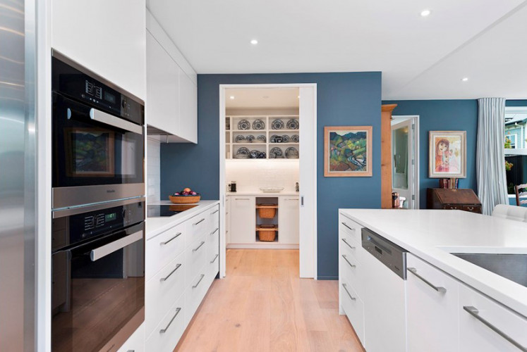 blue, kitchen, blue kitchens, earthquake rebuild, home makeover inspiration, dark blue interiors