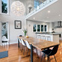 kitchen, dining room, open plan dining, white kitchen, black and white dining, modern kitchen