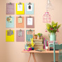 pink paint, interior, pastels, study inspiration, desk, painted clipboards