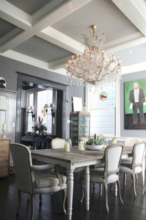painted ceiling, ceiling inspiration, dining room, grey ceiling, grey and white paint