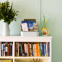 retro bach, holiday home, bookshelf, bookcase, turquoise paint