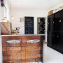 kitchen, white tiled kitchen, black kitchen cupboards, recycled timber, interior design