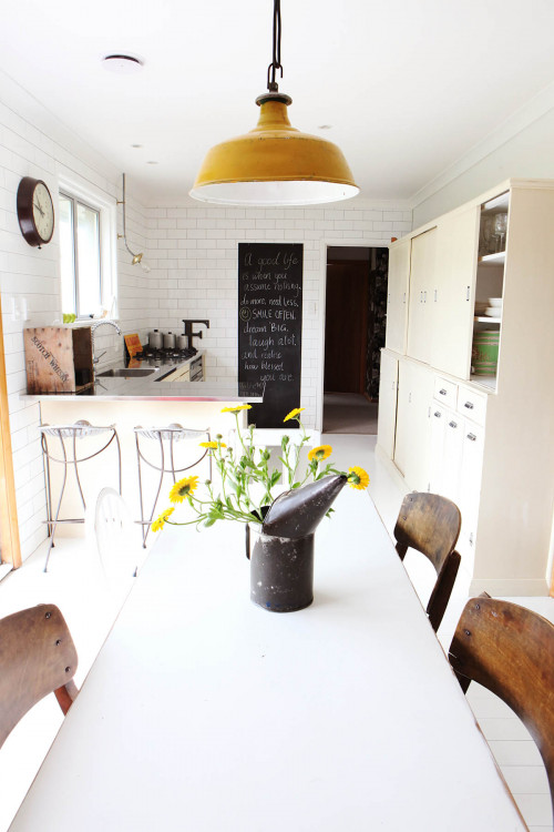 dining room, kitchen, upcycled cabinets, white kitchen tiles, cream paint