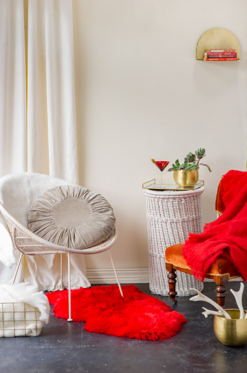 white, living room, red