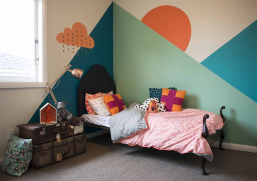 kids bedroom, children's bedroom, geometric painted wall, feature wall, blue and green paint
