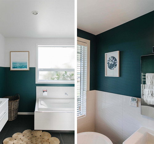 bathroom, green bathroom, blue bathroom, bathroom feature wall, blue and white interior