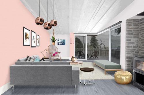 living room, lounge, pink feature wall, pink and grey, interior design