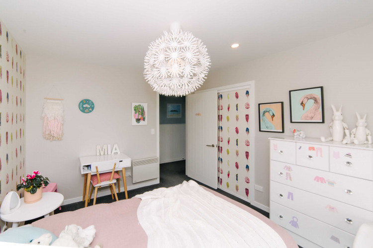 grey bedroom, kids bedroom, childrens bedroom, girls bedroom, feature wallpaper, feature wall