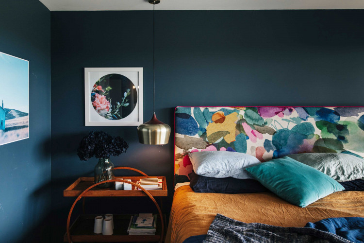 master bedroom, dark bedroom, dark interior, blue bedroom, blue interior, dark blue feature wall
