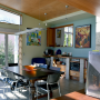 dining room, blue, green, colour blocking, timber ceiling, paint ideas, paint trends