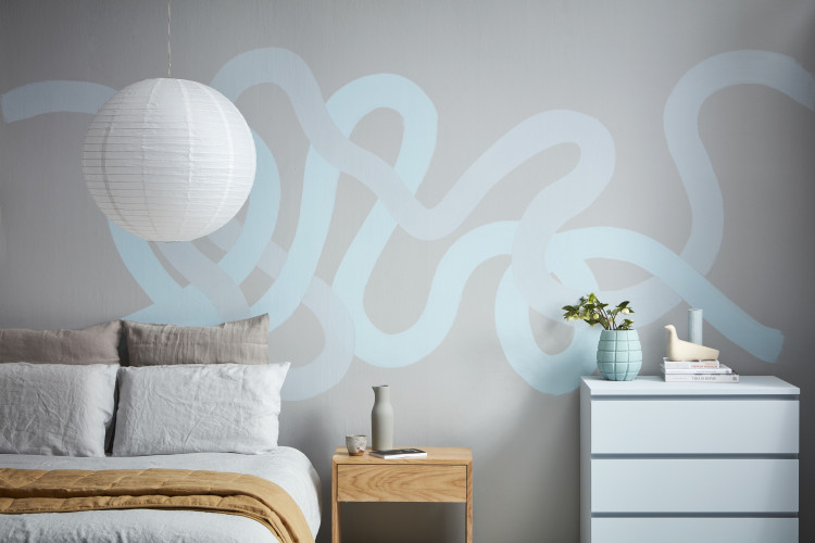 bedroom, grey bedroom, grey and blue interior, painted feature wall, wave inspired wall