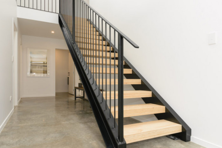 resene alabaster, white walls, scandi design, white entrance, entranceway, hallway, steel staircase