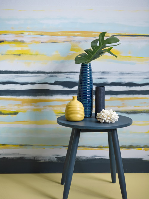 feature wall, blue, blue and yellow, paint effects