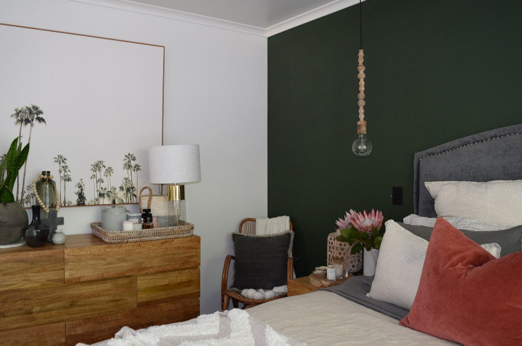 bedroom, green bedroom, green feature wall, resene black white, pendant light, resene seaweed