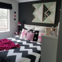 Bedroom, dark colours, feature wall, black paint, paint ideas