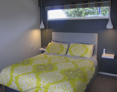 master bedroom, grey bedroom, green and grey, 1970s home, retro house