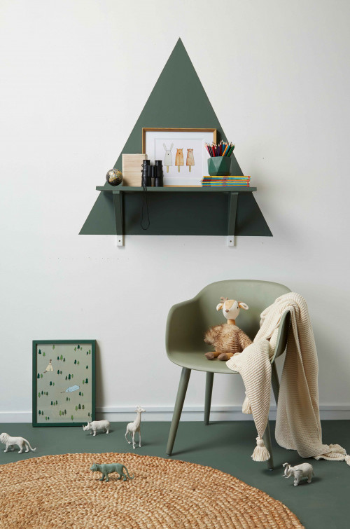 nursery inspiration, green nursery ideas, nursery decor, nursery design, tree shelf, painted shelf