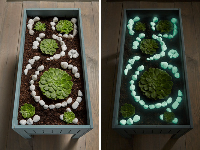 diy, outdoor ideas, garden ideas, glowing pebbles, resene fx nightlight, glow in the dark effect