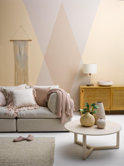 living room inspiration, lounge inspiration, pink interior ideas, geometric interior ideas, resene