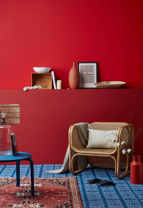 red interior ideas, red interior inspiration, colour palette, red feature wall, interior design