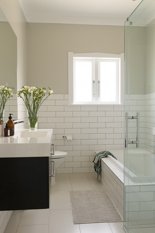 bathroom, white, bungalow, renovating a bungalow, bungalow renovation, resene merino, white bathroom