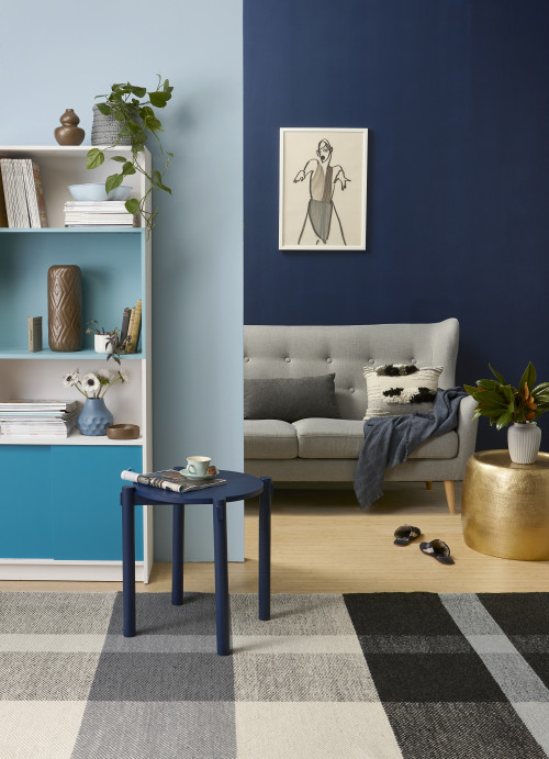 painting ideas, painting tips, diy bookshelf, painting inspiration, blue living room, blue lounge