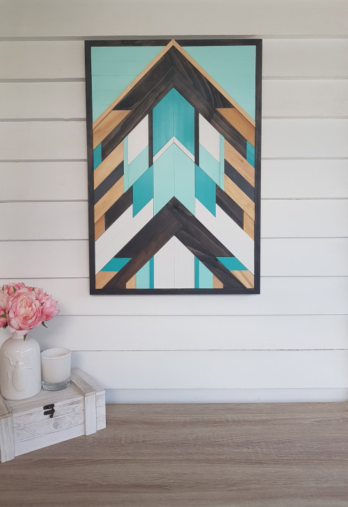 wall art, resene artwork, geometric art, wooden wall art, diy inspiration, resene java, gift idea
