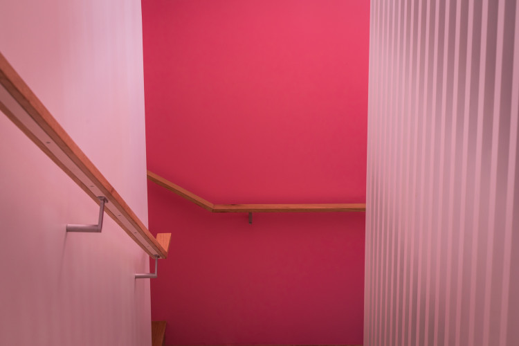 Stairwell, stairs, pink walls, pink stairs, Resene