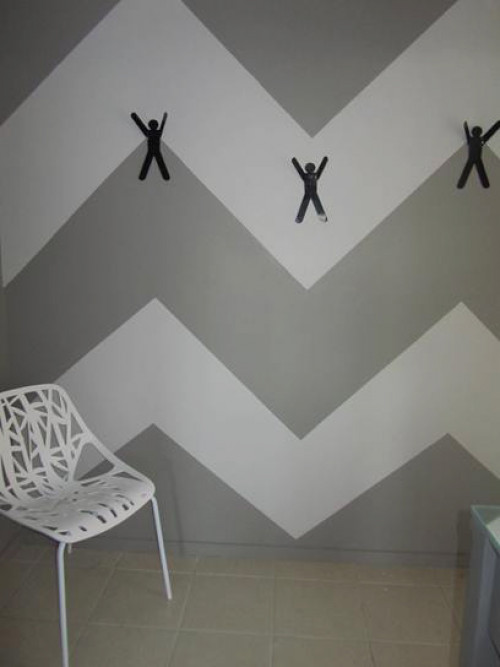 painted hallway, grey hallway, grey and white patterned wall, interior design
