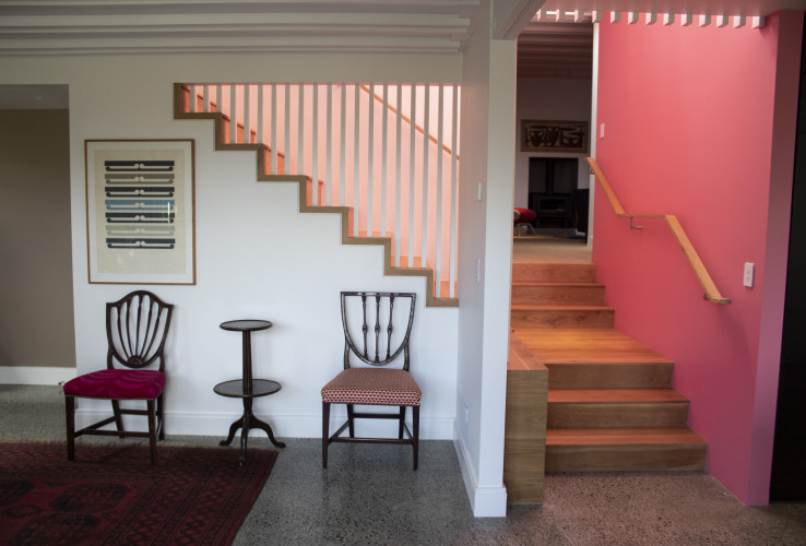 Dining room, accent wall, pink wall, neutrals with pink, Resene