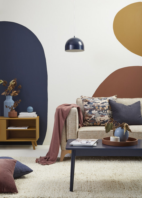 lounge, painted shapes, shapes feature wall, living room, mural feature wall, blue lounge