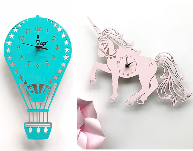 clocks, bamboo clocks, inscribe design, unicorn clock, hot air ballon clock, gift ideas
